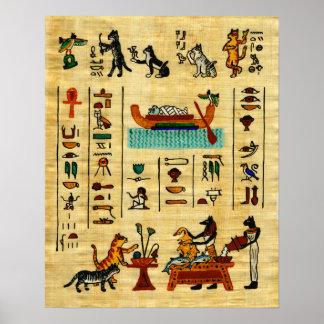 Impresión querida egipcia antigua del gato de los