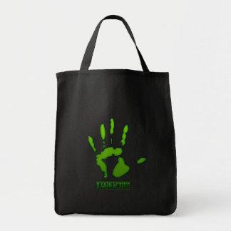 Impresión radiactiva de la mano bolsa tela para la compra