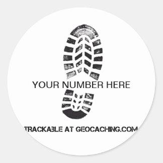 Impresión rastreable de la bota pegatina redonda