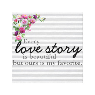 Impresión rayada floral de la lona de Love Story Impresion De Lienzo