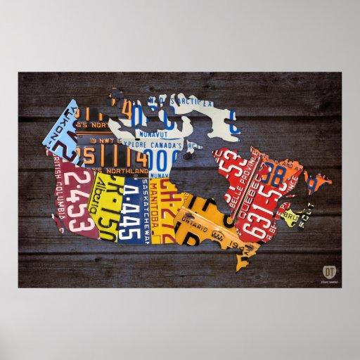 Impresión reciclada mapa del arte de la placa de C Posters