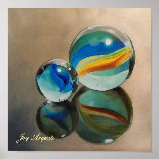 Impresión reflejada de los mármoles 11x11 póster