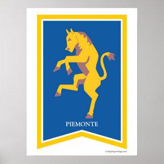 Impresión regional del arte del escudo de Piemonte Posters