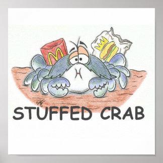 Impresión rellena del cangrejo póster