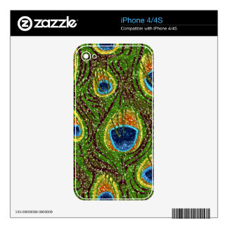 Impresión reluciente del arte de la pluma del pavo iPhone 4 calcomanía
