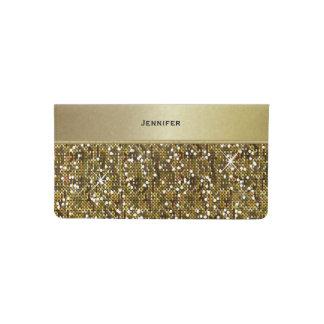 Impresión reluciente del confeti elegante del oro funda para chequera