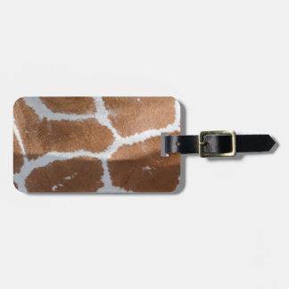 impresión reticulada de la piel de la jirafa etiquetas maleta