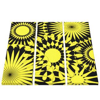 Impresión retra de la lona de las flores negras am lona envuelta para galerias