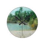 Impresión retra de la playa reloj de pared