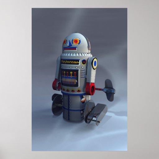 Impresión retra del número 7 del robot del juguete poster