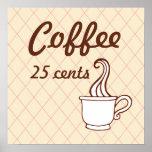 Impresión retra del poster del arte del café