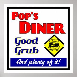 Impresión retra del restaurante del comensal del e póster