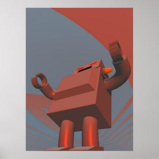 Impresión retra del robot 3 del estilo póster