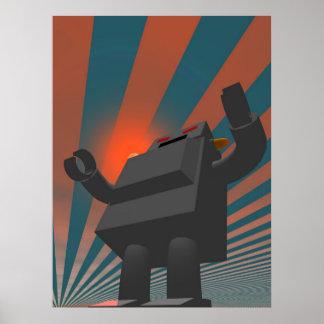 Impresión retra del robot 4 del estilo póster