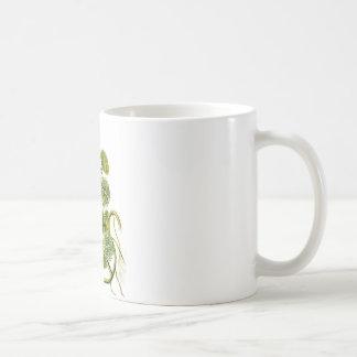 Impresión retra hermosa de la planta de la alga ma taza básica blanca