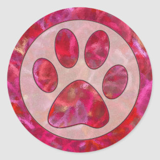 Impresión retra rosada de la pata pegatina redonda