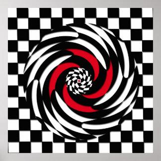 Impresión roja, blanca y negra del vórtice del póster
