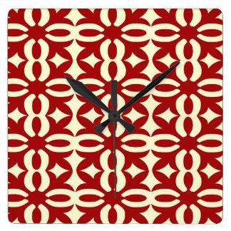 Impresión roja brillante de encaje del Victorian Reloj Cuadrado
