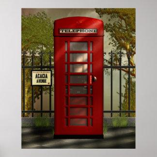 Impresión roja británica de la cabina de teléfonos póster
