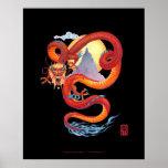 Impresión roja china del dragón en negro impresiones