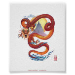 Impresión roja china del dragón impresiones