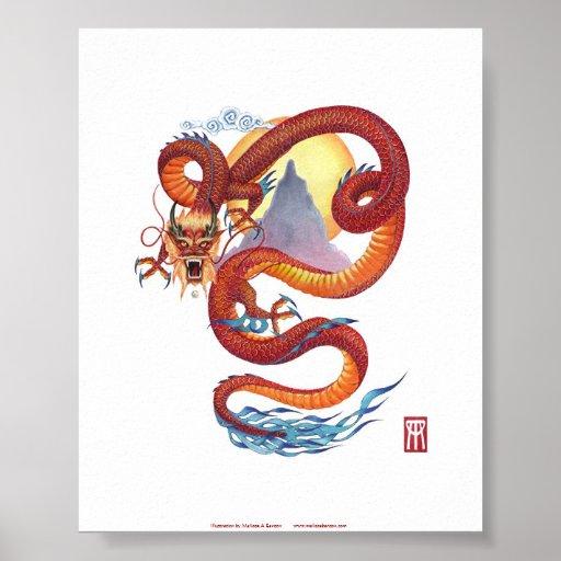 Impresión roja china del dragón póster