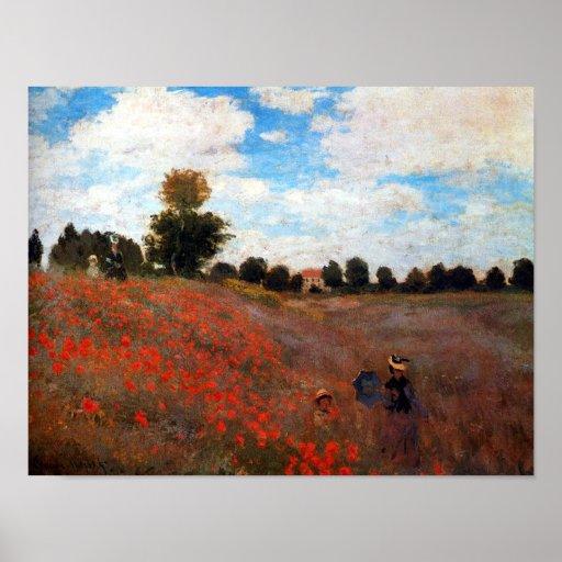 Impresión roja de la bella arte del campo de la am póster