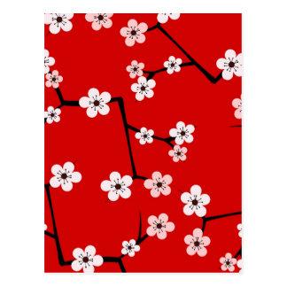 Impresión roja de la flor de cerezo tarjetas postales
