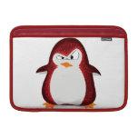 Impresión roja de la foto del brillo del pingüino  funda para macbook air