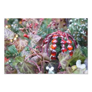 Impresión roja de la foto del ornamento