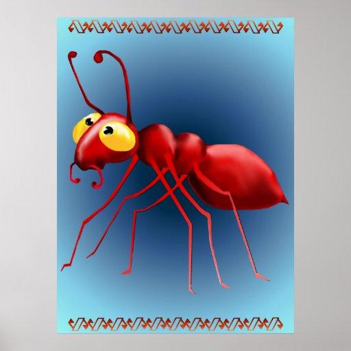 Impresión roja de la hormiga póster