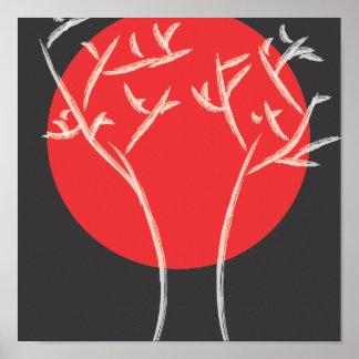 Impresión roja de la luna póster