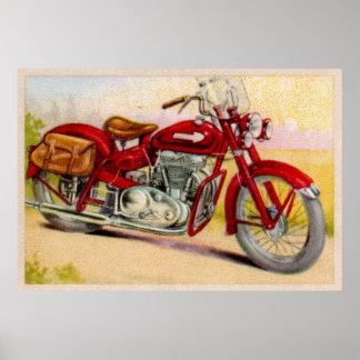 Impresión roja de la motocicleta del vintage poster