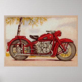Impresión roja de la motocicleta del vintage póster
