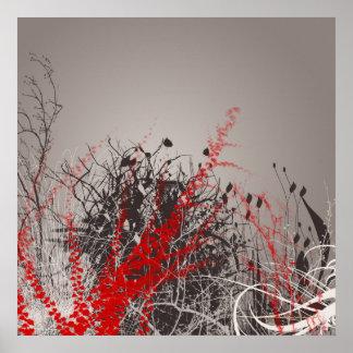 Impresión roja de las flores del arte moderno del  impresiones