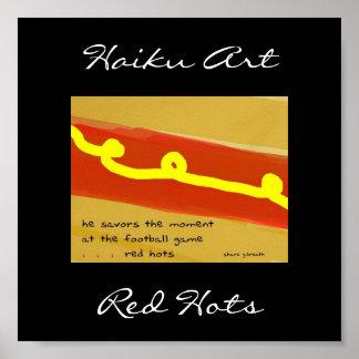 Impresión roja del arte del Haiku de Hots