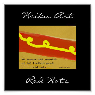 Impresión roja del arte del Haiku de Hots Póster