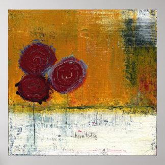 Impresión roja del arte del ramo floral de Dan Rob Posters
