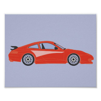 Impresión roja del ejemplo del coche del dibujo póster