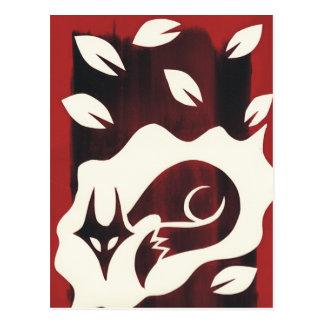 Impresión roja del Fox del otoño Postal