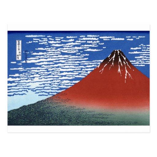 Impresión roja del japonés del vintage del monte tarjeta postal