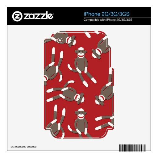 Impresión roja del mono del calcetín iPhone 3G calcomanías