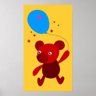 Impresión roja del oso impresiones