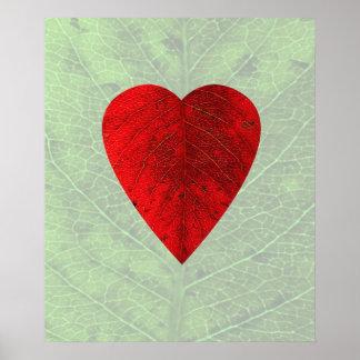 Impresión roja del poster de la hoja del corazón