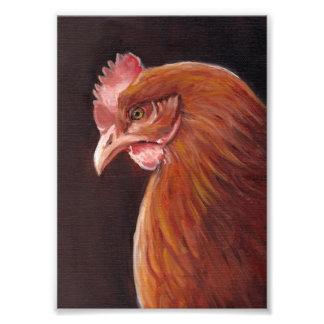 Impresión roja del retrato del arte de la gallina fotografía