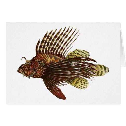 Impresión roja del vintage del Lionfish Tarjeta Pequeña