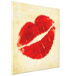 Impresión roja grande de la lona de los labios del impresión en lienzo estirada