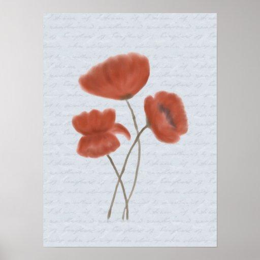 Impresión roja romántica del poster de las amapola