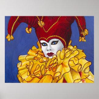 Impresión roja y amarilla del bufón del carnaval impresiones