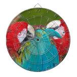 Impresión roja y azul del loro del macaw tabla dardos
